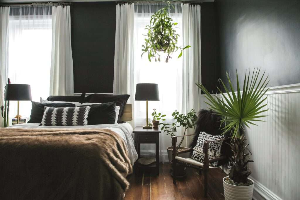 bedroom with black paint in valspar noir