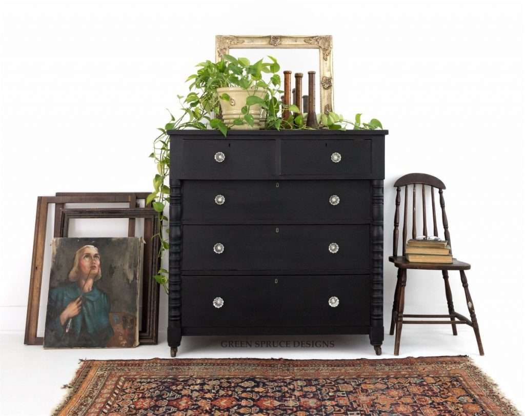dresser with annie sloan athenian black paint
