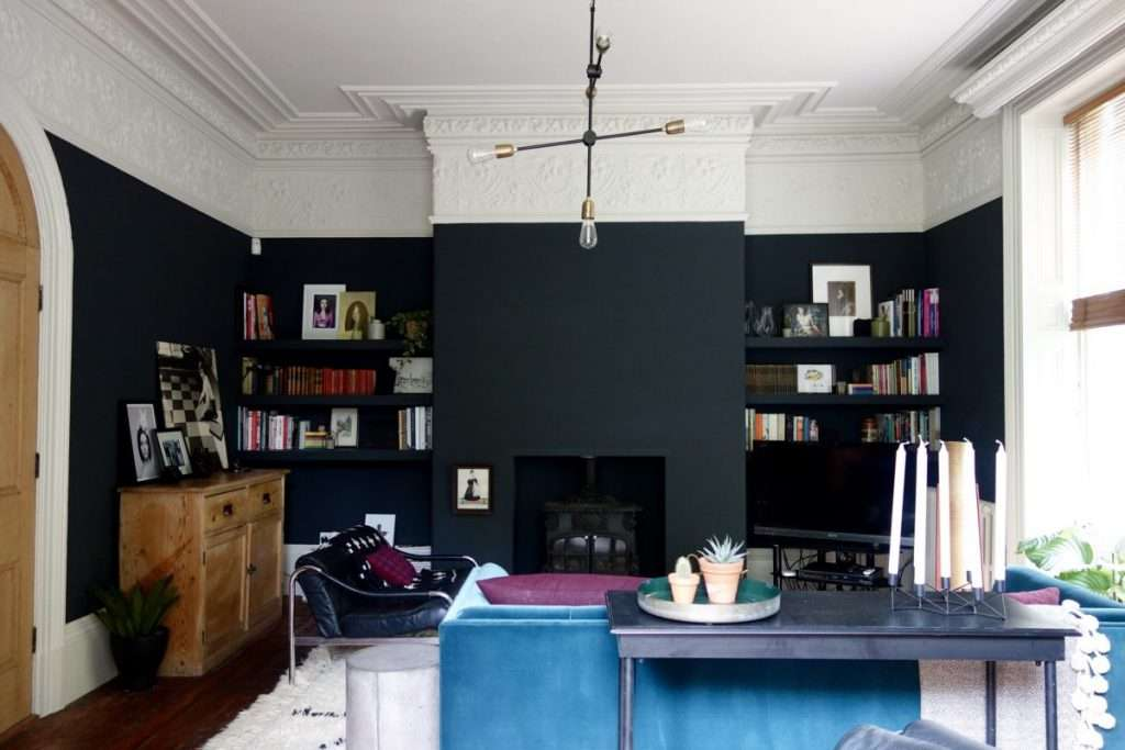 living room with black paint farrow and ball off black
