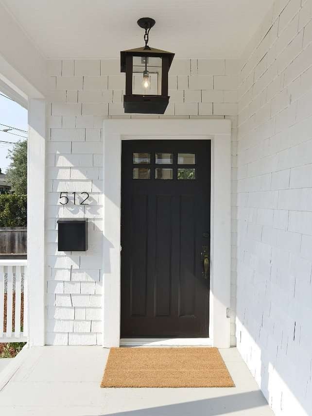 exterior front door with sherwin williams tricorn black paint
