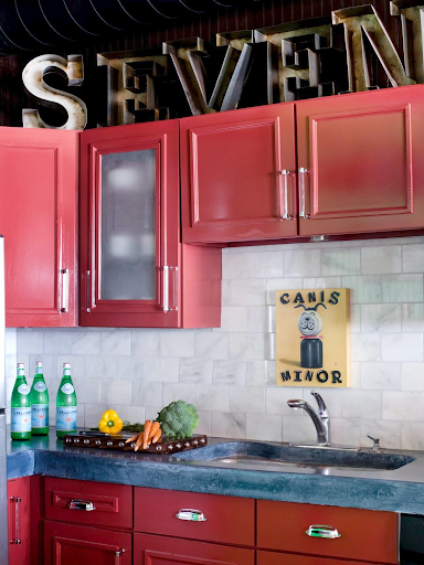 bright kitchen with galvanized metal letters above cabinets decor