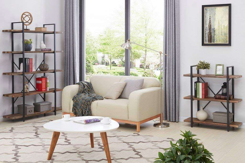 modern industrial bookcases in a contemporary living room