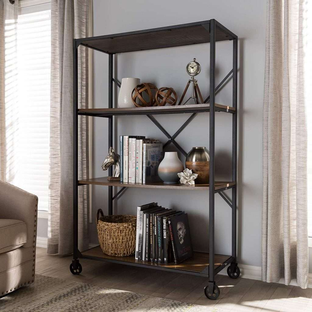 wood and metal rolling bookcase