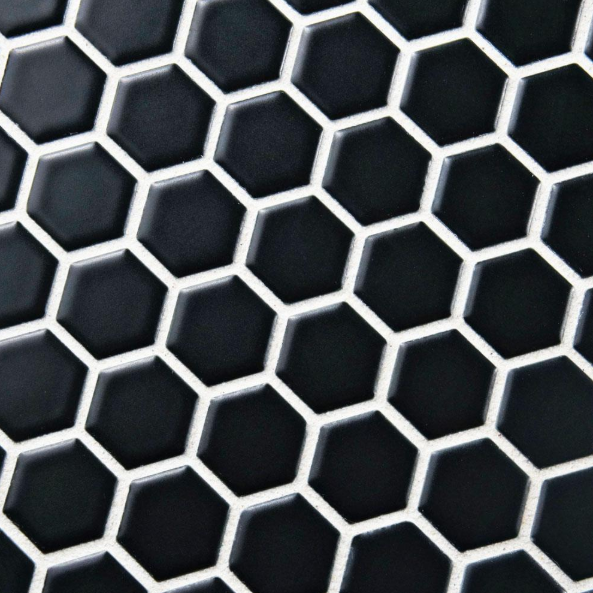 black hexagon mosaic tile