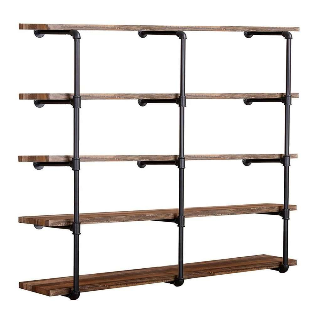 diy industrial gas pipe wall shelving
