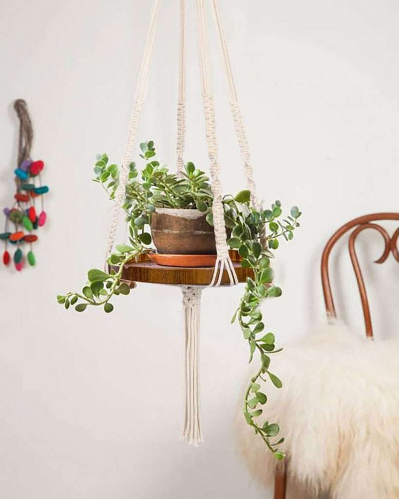 hanging wood and macrame shelf planter