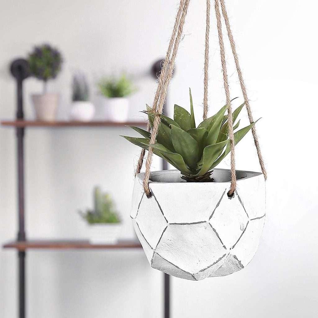 mini unglazed clay hanging planter