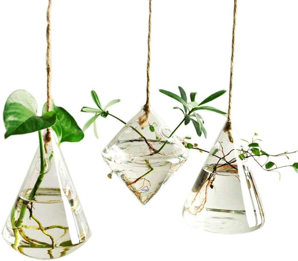 glass hydroponic hanging planter