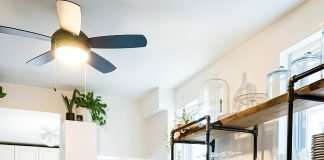 kitchen with industrial shelving unit