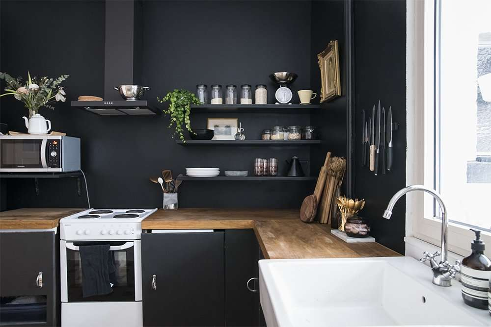 kitchen with farrow and ball pitch black paint