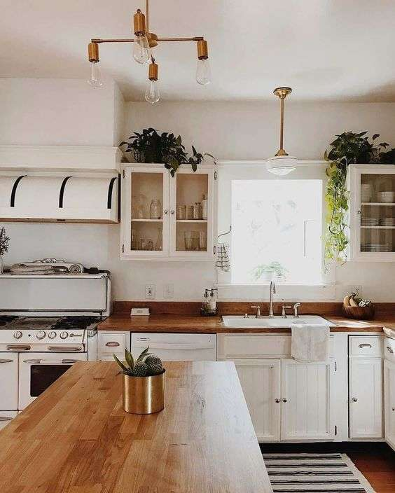 white and wood kitchen decorated with plants above cabinets