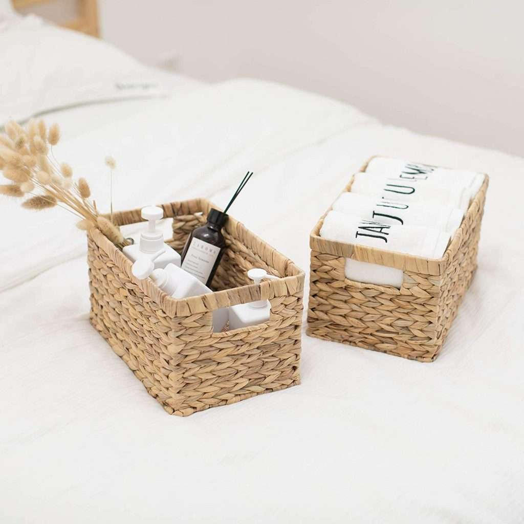 set of wicker storage baskets