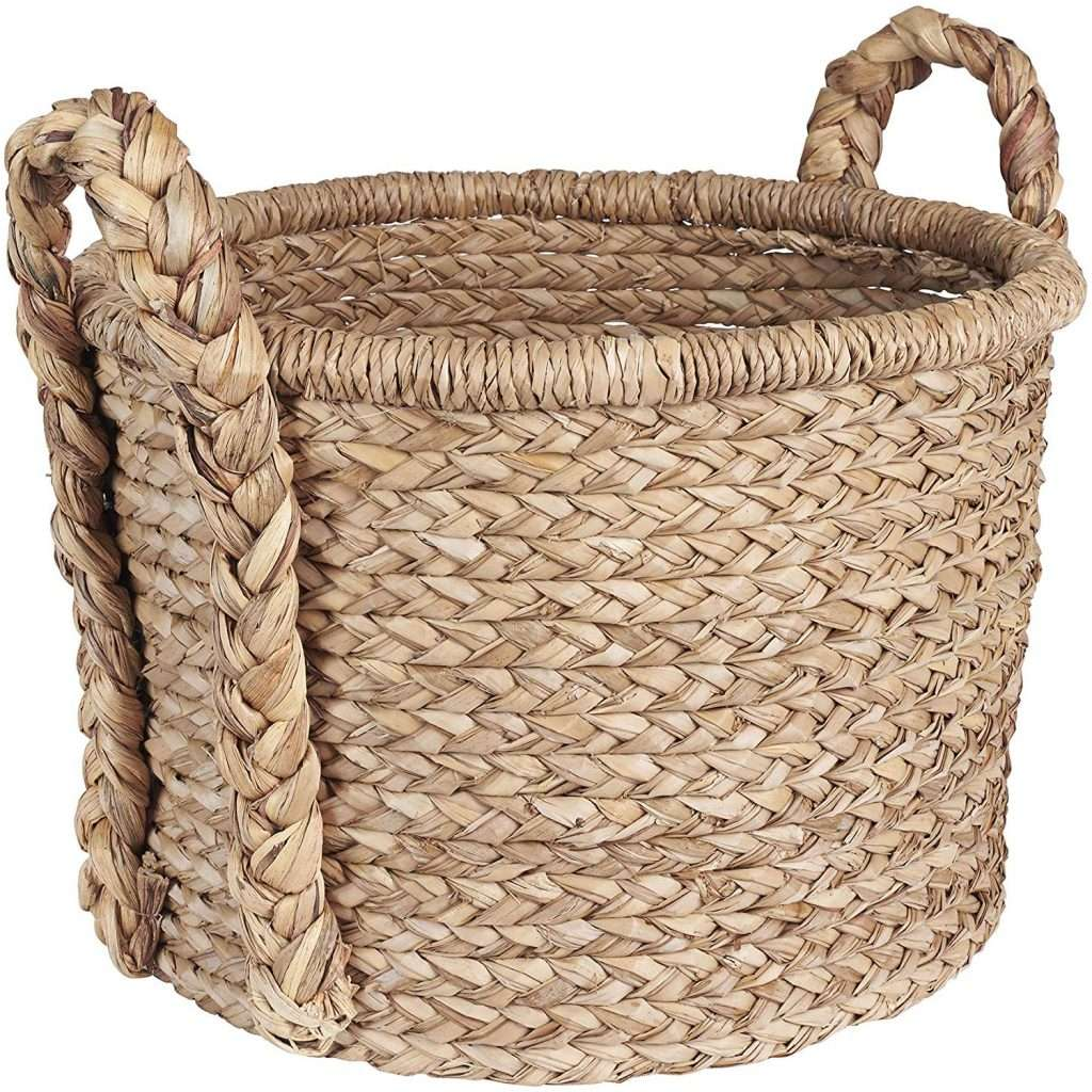 round wicker storage basket
