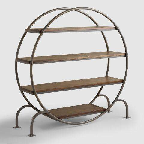 round wood and metal industrial bookcase
