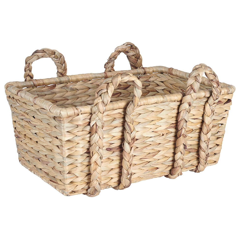 rectangular wicker storage basket