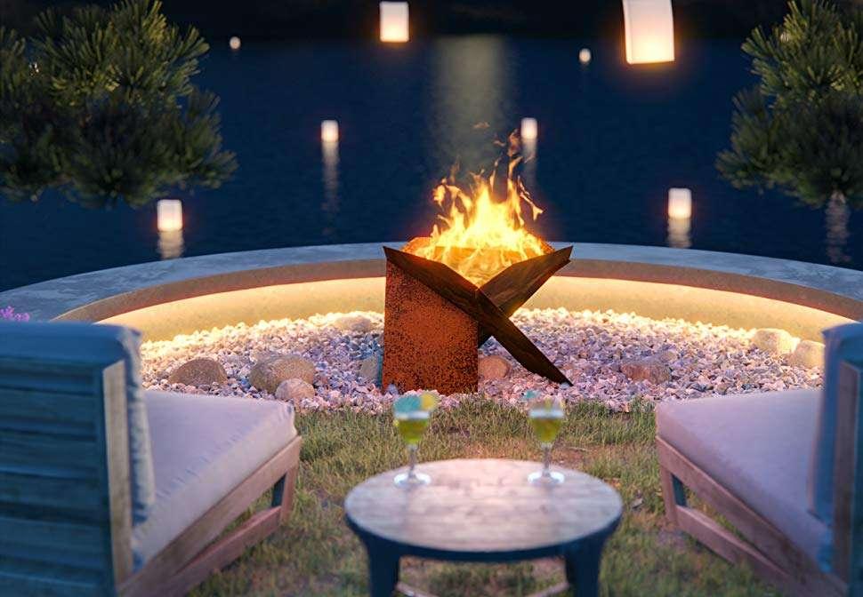 hillebrand & co modern steel firepit