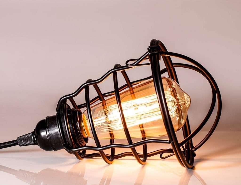 caged edison plug-in pendant light
