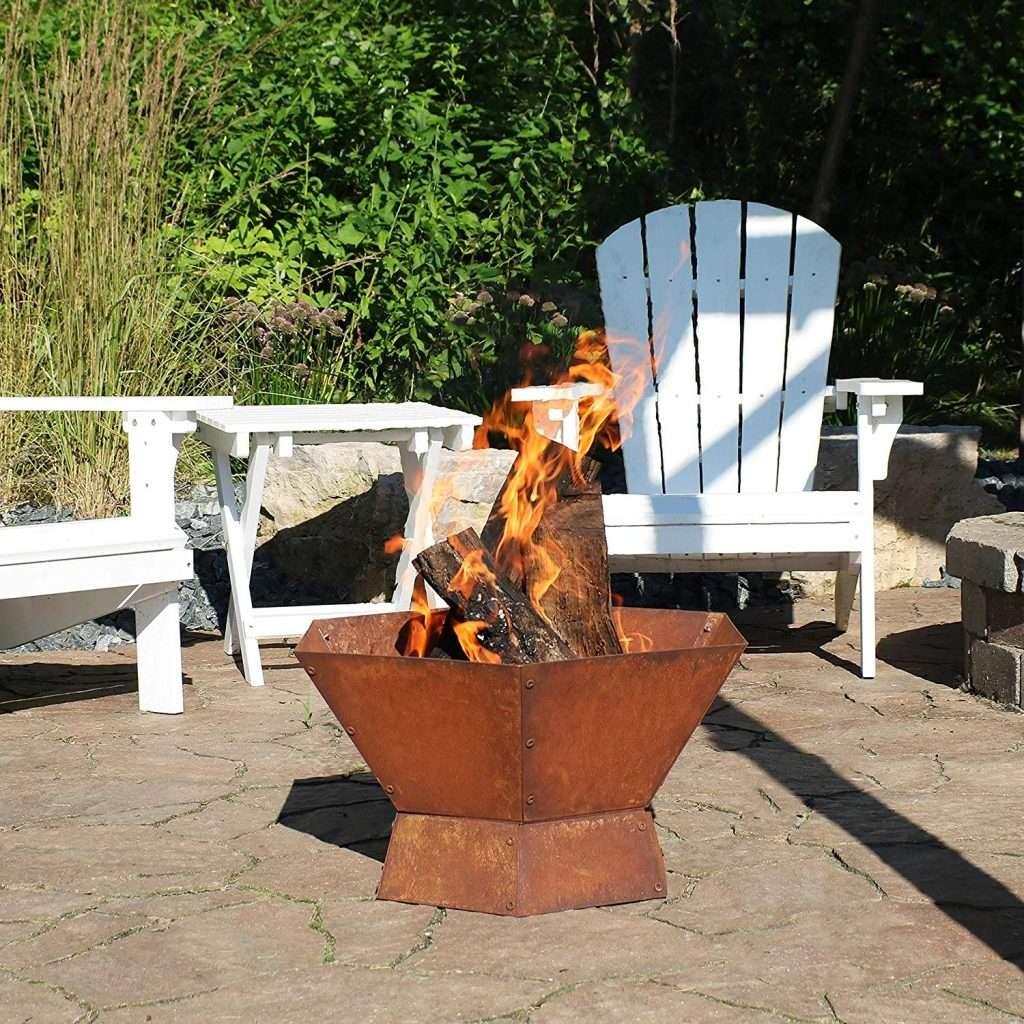 hexagon raised outdoor firepit