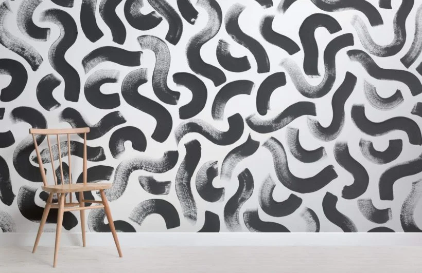 black and white squiggle pattern wallpaper mural