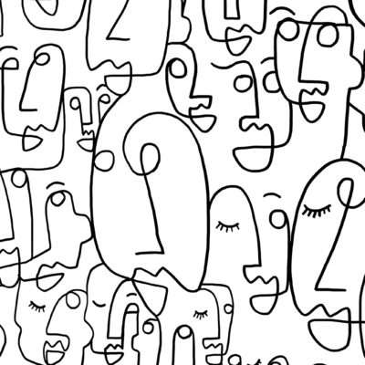 faces line drawing wall mural