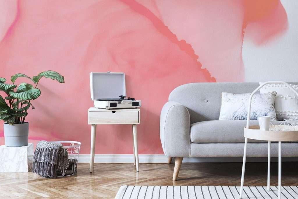 pink watercolor wallpaper mural in living room