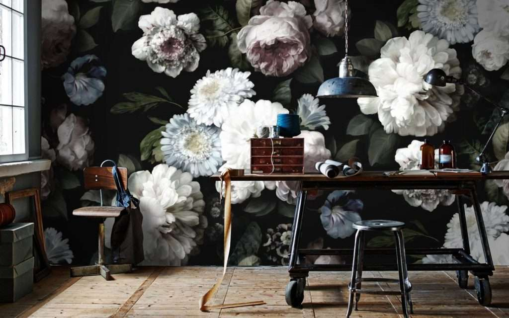 oversized floral wallpaper mural in office