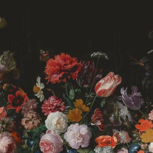 dark floral wallpaper mural