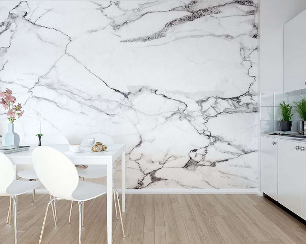 marble wallpaper mural in kitchen