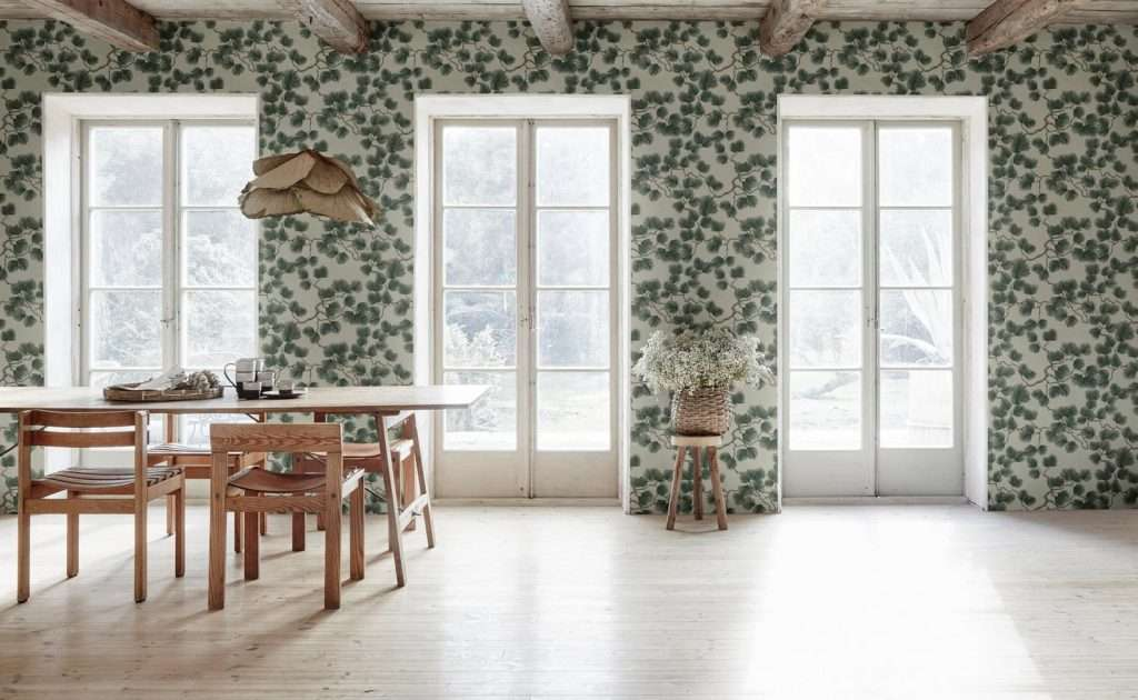 pine forest wallpaper mural in dining room