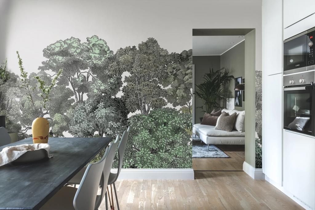 tree wallpaper mural in kitchen