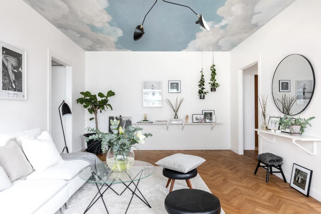 cloud wallpaper mural on ceiling in living room