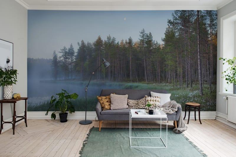 forest lake wallpaper mural in living room
