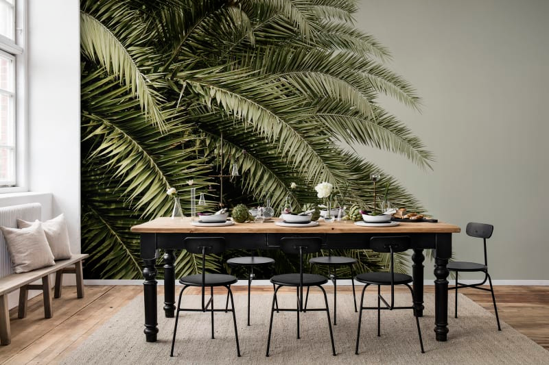 jungle palm tree wallpaper mural in dining room