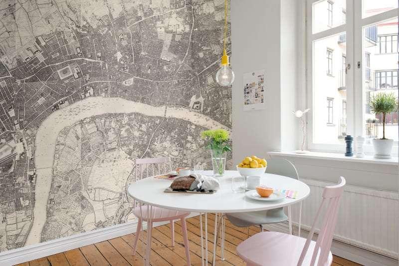 london map wallpaper mural in kitchen breakfast nook