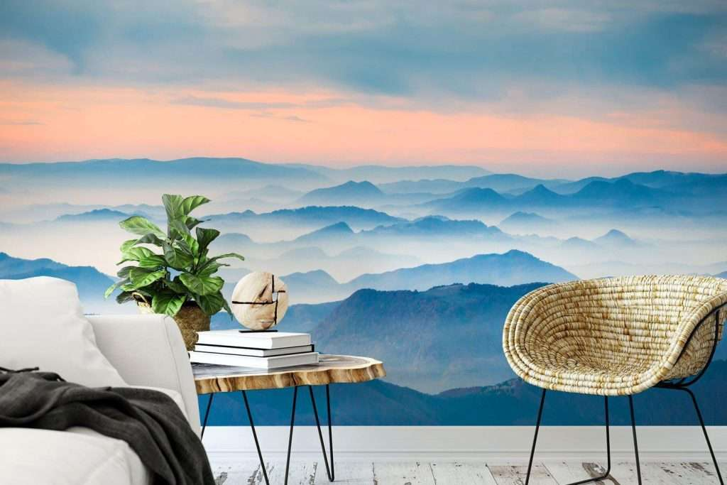 sunset mountain view wallpaper mural in living room
