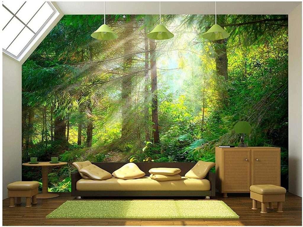 green forest wallpaper mural in living room