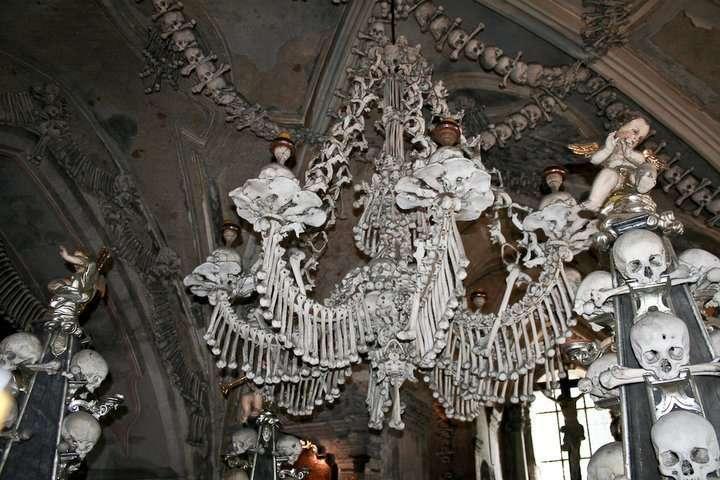 Bone Chandelier at Sedlec Ossuary at Kutná Hora