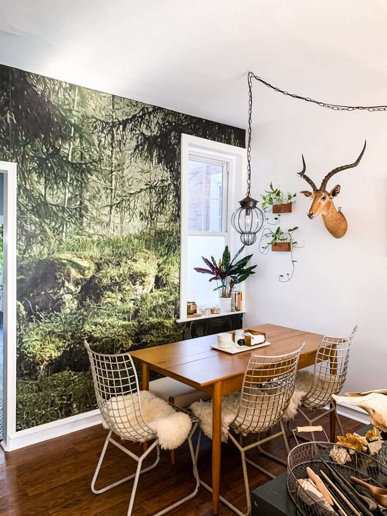A Woodsy Wall Mural Makeover