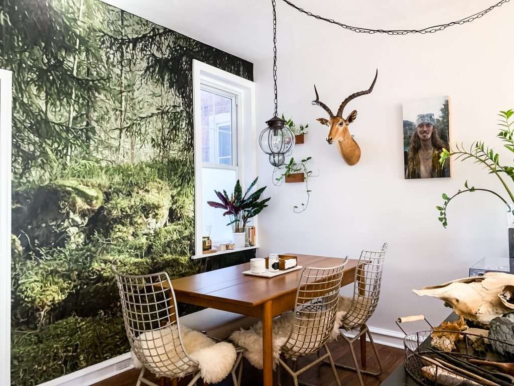 forest wallpaper mural dining room