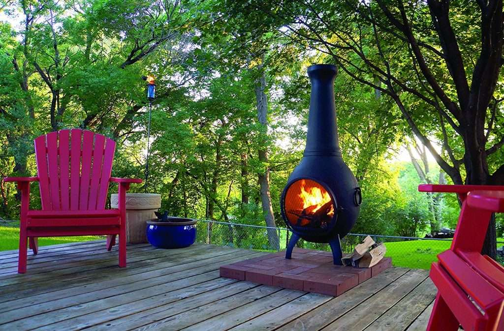 cast aluminum chiminea on a deck