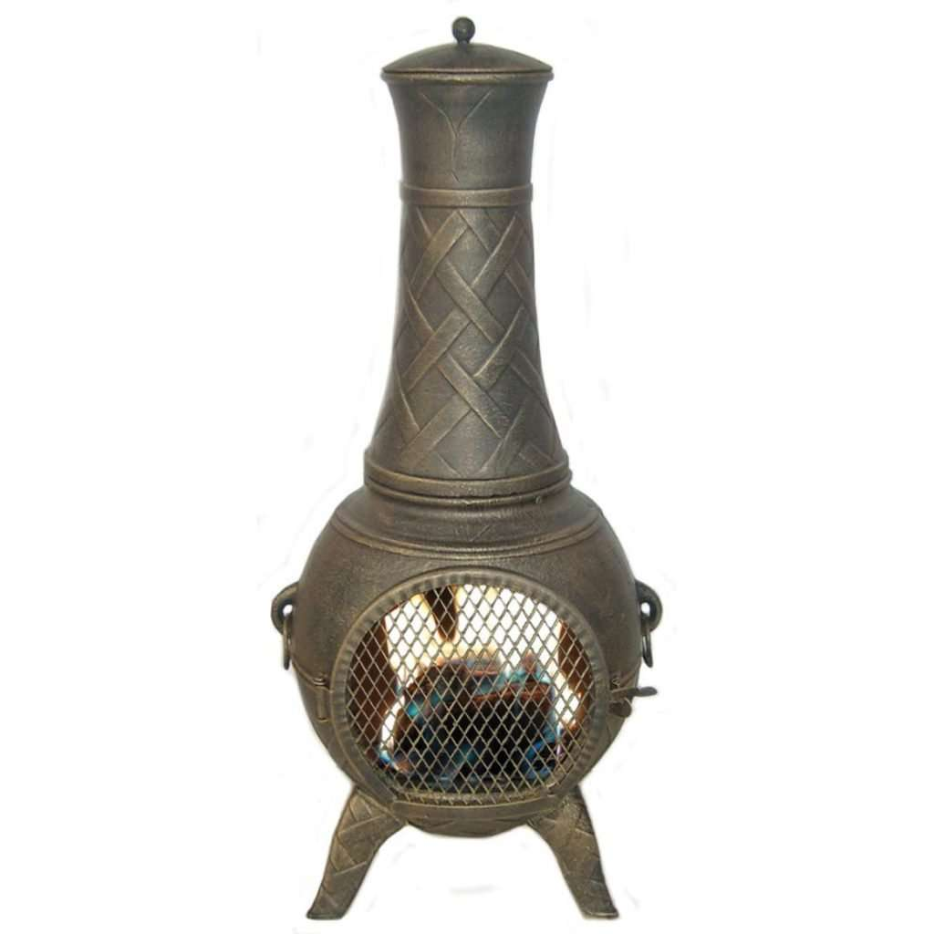 basket weave cast aluminum chiminea