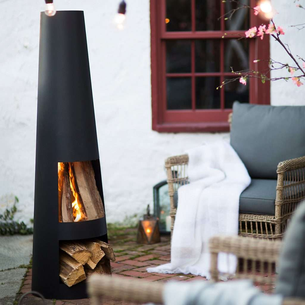 modern cor-ten steel chiminea