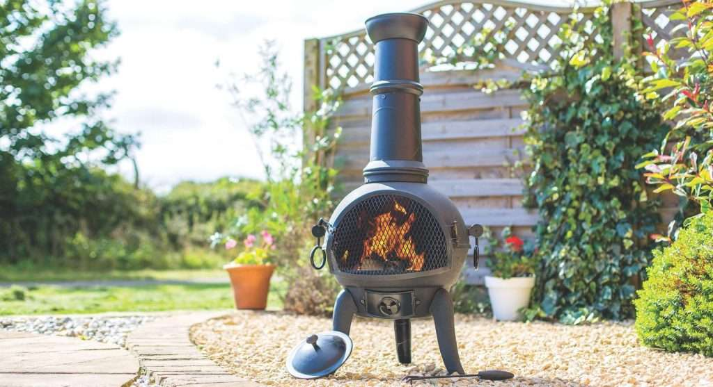 chiminea in a backyard
