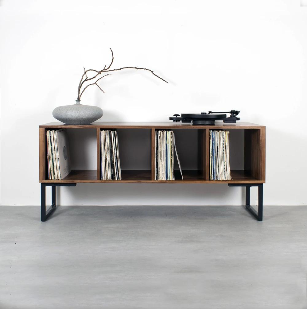 Hardwood and metal record storage shelf