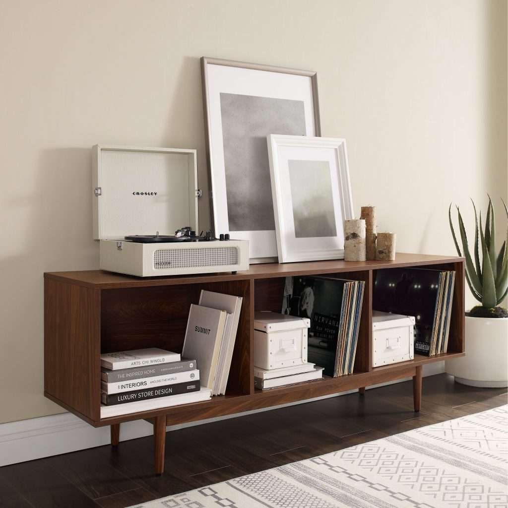 Wood record storage console cabinet