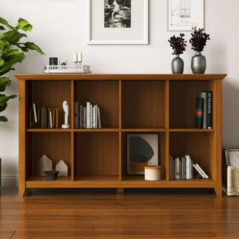 Wood vinyl record storage shelf