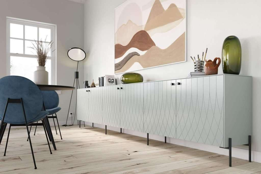 Ikea Besta cabinet with patterned drawer front and minimal legs