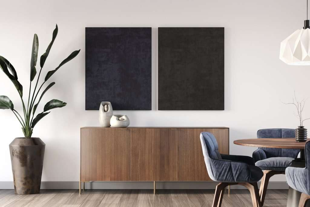 Ikea Besta cabinet with walnut doors and minimal legs