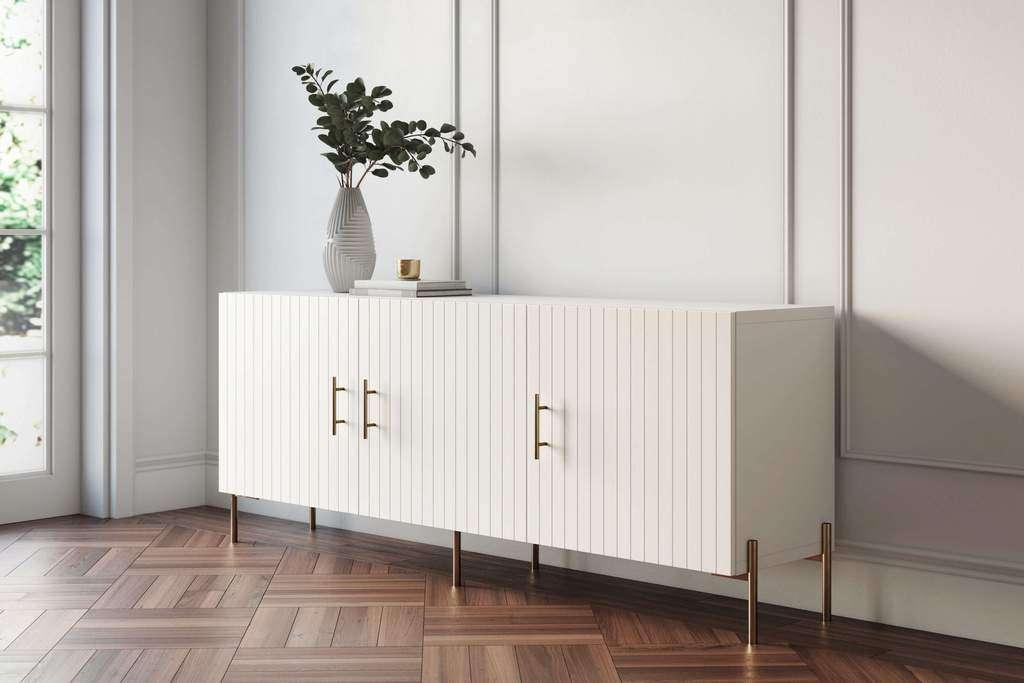 Ikea Besta media cabinet with beadboard doors and brass hardware
