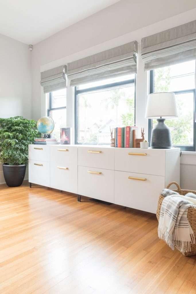 Ikea Besta cabinet with brass drawer pulls